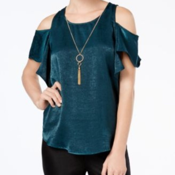 BCX Tops - BCX Juniors Cold Shoulder Short Sleeve Blouse